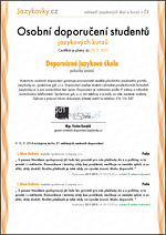 certifikát Jazykovky.cz
